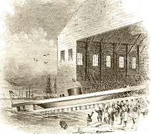 рисунок, показывающий запуск USS Monitor в Ист-Ривер в Бруклине