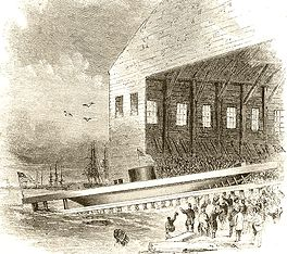 drawing showing the Launch of USS Monitor into the East River at Brooklyn