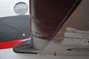Deicing boot - De-icing rubber boots on the leading edge of a Beechcraft 350