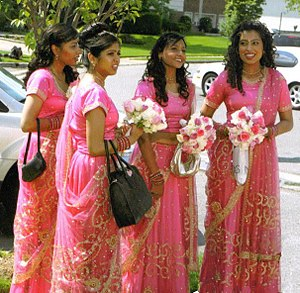 Bridesmaid - Four bridesmaids wearing gagra cholis, the traditional dress of northern India.