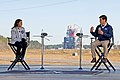 Leigh D'Angelo and Alex Cagnola during live coverage of SLS Green Run Test.jpg