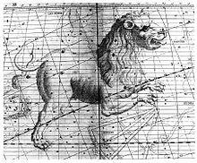 La costellazione del Leone nell'Atlas Coelestis di John Flamsteed. Sul suo petto c'è Regolo, indicata con la lettera Alfa.