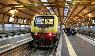 Fiumicino Aeroporto railway station - A Leonardo Express at the station.
