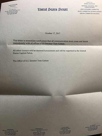 """Cease and desist"" letter mailed from Senator Cotton's office Letter from the staff of US Senator Tom Cotton (R-Arkansas) advising people to not call or write.jpg"