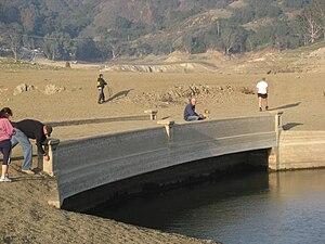 Lexington Reservoir - Exposed local bridge across Black Creek