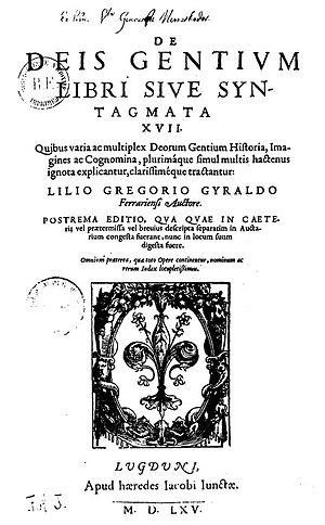 Giglio Gregorio Giraldi - De deis gentium, Lyon 1565