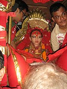 A girl as goddess in a Nepalese ratha