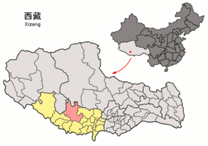 Ngamring County - Image: Location of Ngamring within Xizang (China)