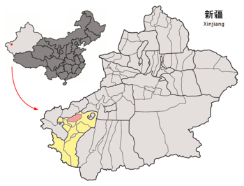 Location of Peyziwat within Xinjiang (China).png