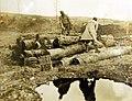 Logs being cut into firewood by German prisoners in the Argonne Forest, Grandpre, France, 1919 (32140190352).jpg