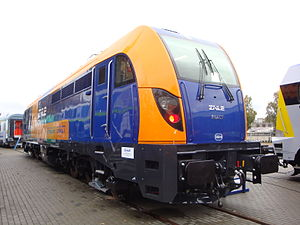 Newag Dragon - The prototype on railway tracks at the Trako Trade Fair in 2009.