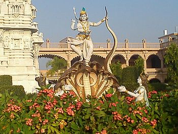 Lord krishna on sheshnag-swaminarayan temple.jpg