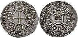 Moeda de prata de Tours, Gros tournois, de São Luís (c.1266)