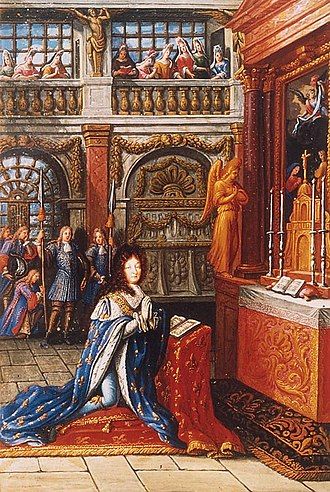 Chapels of Versailles - Louis XIV in prayer in the chapel of 1682 (miniature in the Heures de Louis le Grand, 1693, Bibliothèque nationale de France, ms. 9477, folio a verso)