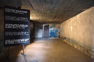 Majdanek trials - Original gas chamber with visible Zyklon B blue stain on the back wall, permanently burned into the cement