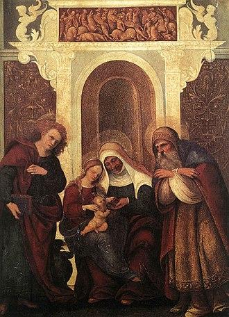 Ludovico Mazzolino - Image: Ludovico Mazzolino Madonna and Child with Saints WGA14717