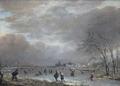 Målning. Vinterlandskap med skridskoåkare på frusen flod. Aert van der Neer - Hallwylska museet - 86745.tif