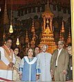 M. Hamid Ansari and Smt. Salma Ansari visiting the Wat Phra Kaew Temple (Temple of Emerald Buddha), in Bangkok on February 04, 2016. The Minister of State for Home Affairs, Shri Haribhai Parthibhai Chaudhary is also seen.jpg