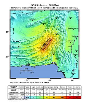 2013 Balochistan earthquakes - USGS ShakeMap showing for the event