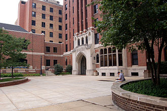 Moody Bible Institute - The historic Moody Bible Institute arch, viewed from within the central plaza.