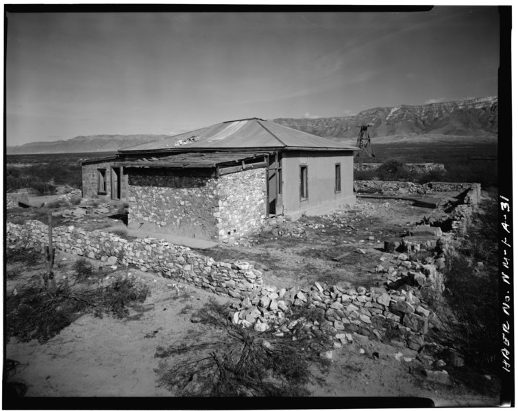 File:MCDONALD RANCH- VIEW OF RANCH HOUSE, FROM SOUTHWEST - White Sands Missile Range, Trinity Site, Vicinity of Routes 13 and 20, White Sands, Dona Ana County, NM HAER NM,27-ALMOG.V,1A-31.tif