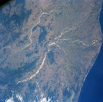 Odisha - Satellite view of the Mahanadi river delta
