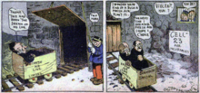 In two comic strip panels, two men obsessively in search of fresh air are led to an insane asylum, where they are locked away.