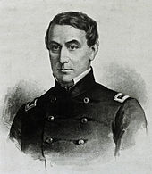 Portrait du major Robert Anderson dirigrant Fort Sumter pour l'Union.
