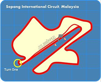 2002 Malaysian Grand Prix - Turn One, the location of Montoya and Schumacher's collision.