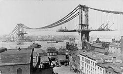 The Manhattan Bridge under construction in March of 1903