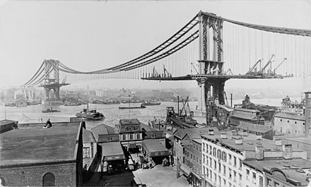 Manhattan Bridge in New York City with deck under construction from the towers outward. Manhattan Bridge Construction 1909.jpg
