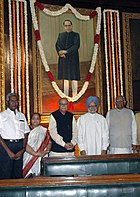 PM Manmohan Singh, the Speaker, Lok Sabha, Somnath Chatterjee and the leader of Opposition in Lok Sabha, L. K. Advani paid tributes at the portrait of B. R. Ambedkar