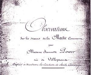 Jeanne Villepreux-Power - Image: Manuscrit Jeanne Power