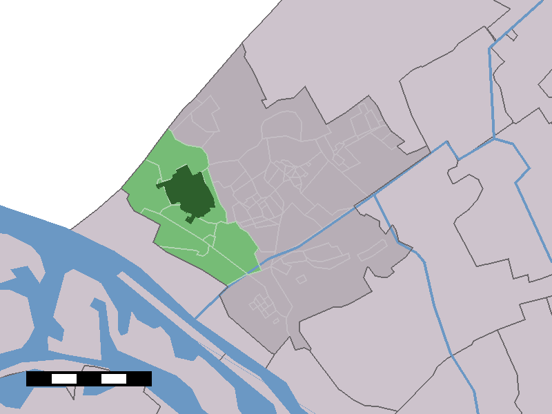The town centre (dark green) and the statistical district (light green) of 's-Gravenzande in the municipality of Westland.