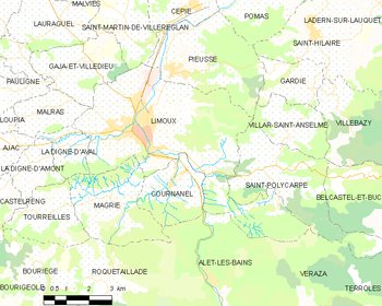 Map of the commune of Limoux