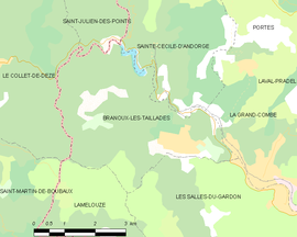 Mapa obce Branoux-les-Taillades