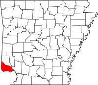Map of Arkansas highlighting Little River County