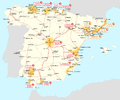 Map of Cercania systems in Spain.png