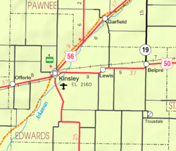 KDOT map of Edwards County (legend)