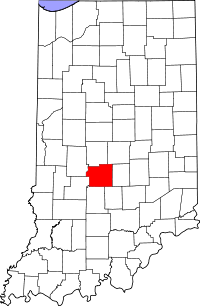 Locatie van Morgan County in Indiana