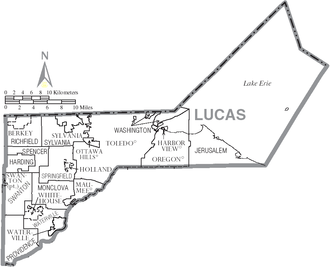 Lucas County, Ohio - Map of Lucas County, Ohio with Municipal and Township labels