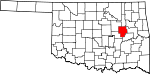 State map highlighting Okmulgee County