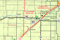 KDOT map of Pawnee County (legend)