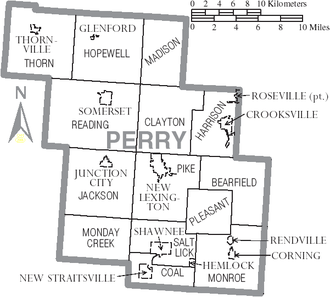 Perry County, Ohio - Map of Perry County, Ohio with municipal and township labels