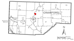 Location of Saegertown in Crawford County