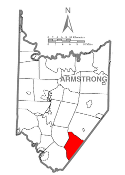 Map of Armstrong County, Pennsylvania highlighting South Bend Township