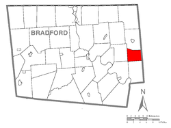 Map of Bradford County with Stevens Township highlighted