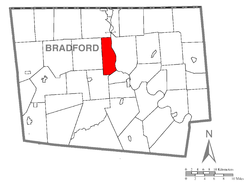 Map of Bradford County with Ulster Township highlighted