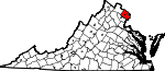 State map highlighting Fairfax County