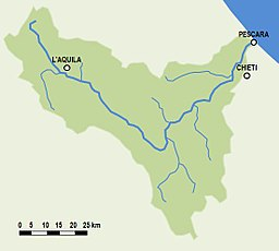Location of the Aterno-Pescara River in Italy